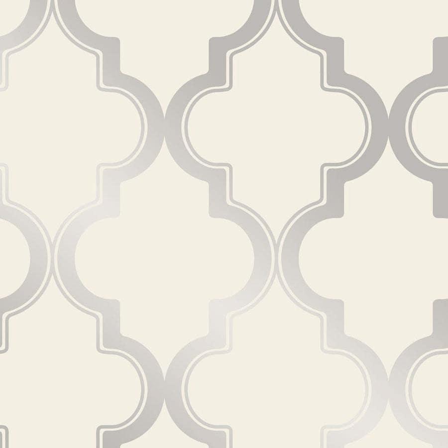 Tempaper 28 Sq Ft Cream And Metallic Silver Vinyl Geometric Self Adhesive Peel And Stick Wallpaper In The Wallpaper Department At Lowes Com