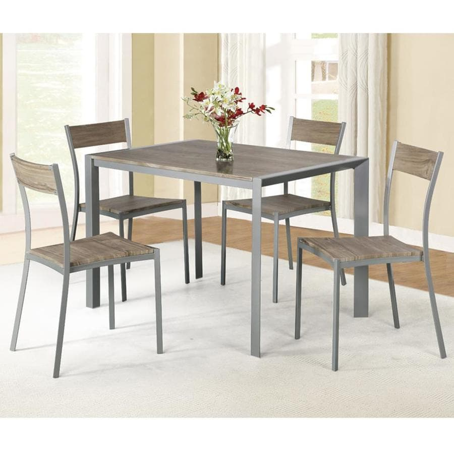 Ac Pacific Weathered Brown Wood Dining Room Set With Rectangular Table In The Dining Room Sets Department At Lowes Com
