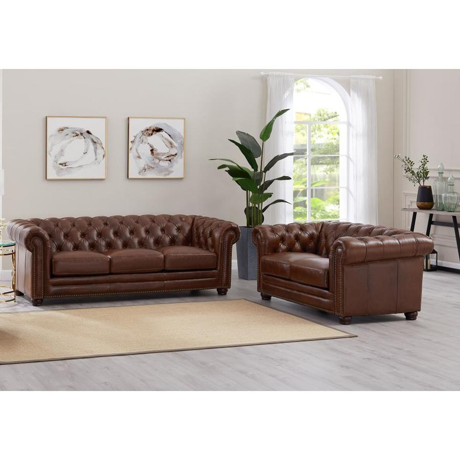 Hydeline Aliso 100 Leather 2 Piece Living Room Set Sofa And Loveseat Tobacco Brown In The Living Room Sets Department At Lowes Com