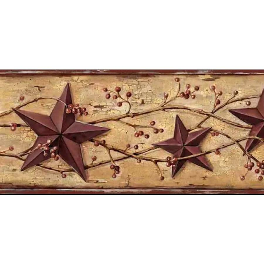 Dundee Deco Self Adhesive Wallpaper Border Patriotic Beige Brown Maroon Red Tin Star Berries On Vine Wall Border Retro Design 15 Ft X 5 75 In 4 57m X 14 61cm In The Wallpaper Borders