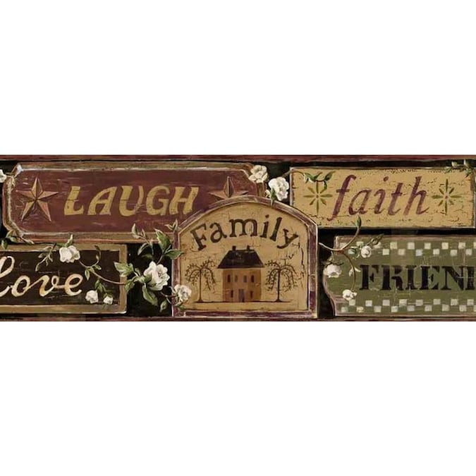 Dundee Deco Self Adhesive Wallpaper Border Patriotic Maroon Beige Green Live Laugh Love Family Friends Faith Wall Border Retro Design 15 Ft X 6 In 4 57m X 15 24cm In The Wallpaper Borders
