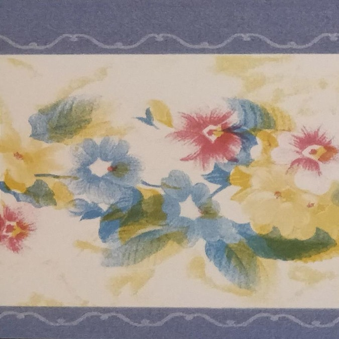 Dundee Deco Peel And Stick Cerulean Blue Yellow Red White Flowers Mauve Trim Floral Wallpaper Border Retro Design Roll 33 Ft X 4 In Self Adhesive In The Wallpaper Borders Department At