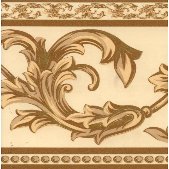 Dundee Deco Peel And Stick Coffee With Cream Grey Green Vines Beige Damask Wallpaper Border Retro Design Roll 33 Ft X 4 In Self Adhesive In The Wallpaper Borders Department At Lowes Com