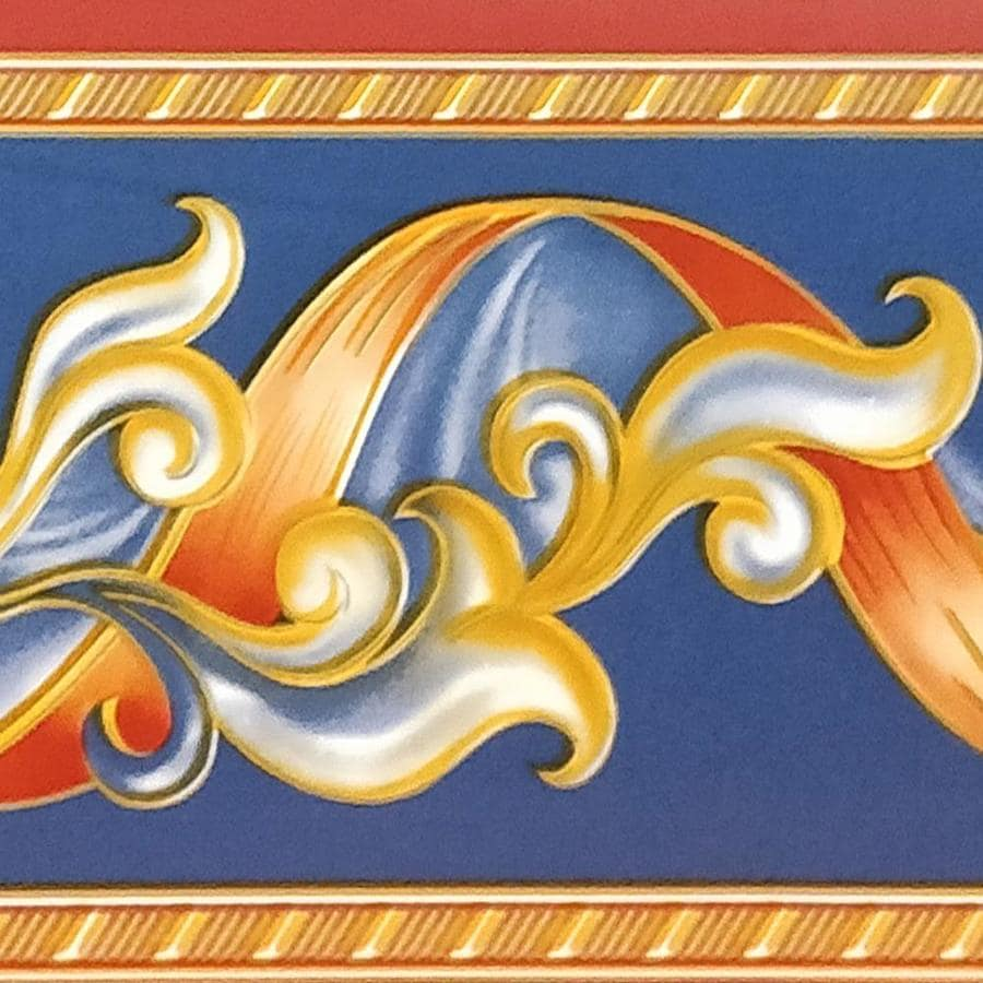 Dundee Deco Peel And Stick Abstract Red Yellow Stripe Yellow Vines Navy Blue Wallpaper Border Retro Design Roll 33 Ft X 4 In Self Adhesive In The Wallpaper Borders Department At Lowes Com