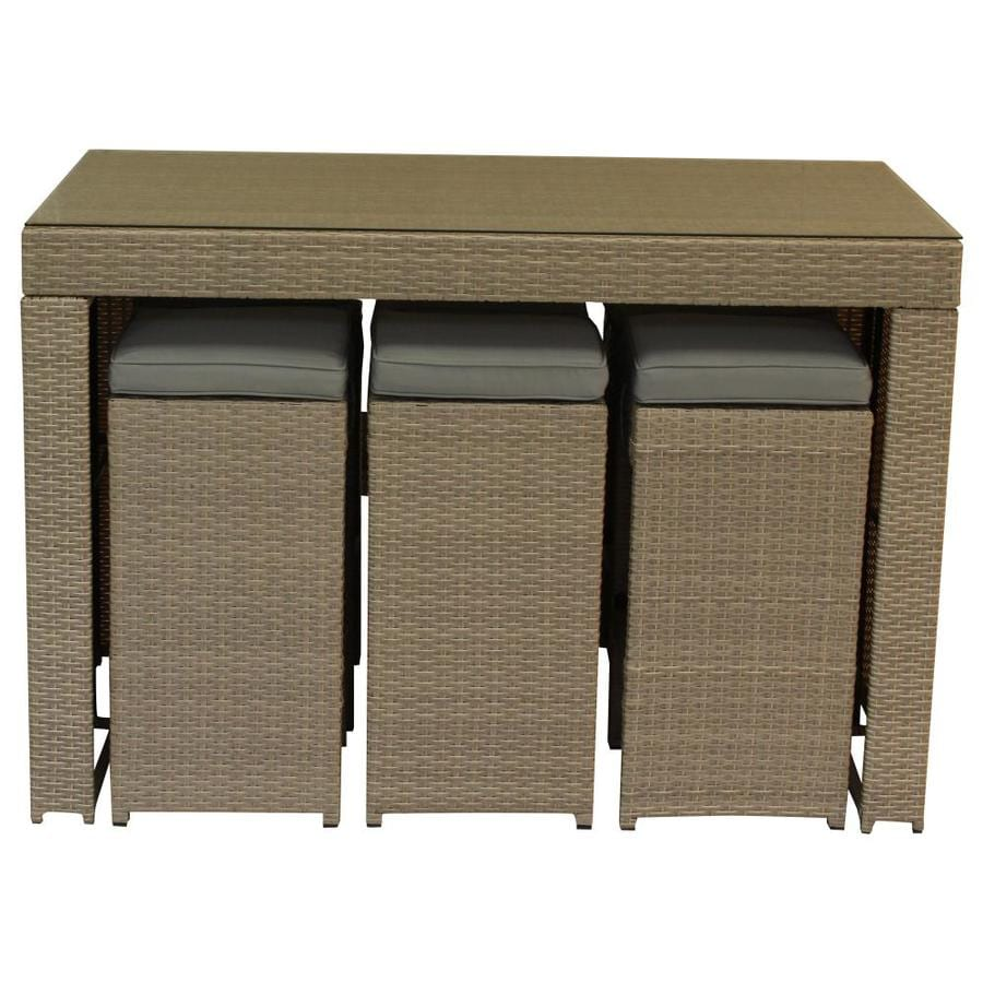 Luxury Living Furniture 7 Piece Multi Tan Outdoor Bar Set With Cushions Polyurethane Rattan Garden In Beige The Patio Bars Department At Lowes Com