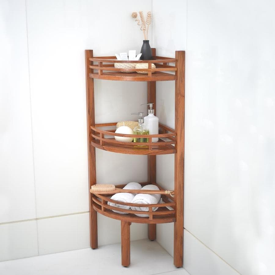 Cambridge Casual Estate Teak 3 Tier Corner Bathroom Shelf In The Bathroom Shelves Department At Lowes Com