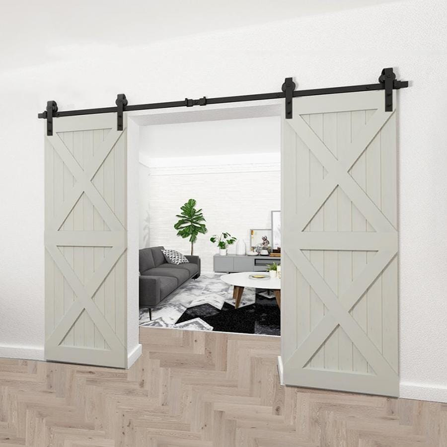 Clihome 120 In 10 Ft Black Steel Top Mount Sliding Barn Door Track And Hardware Kit For Double Doors In The Barn Door Hardware Department At Lowes Com