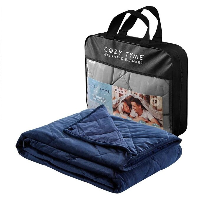 Cozy Tyme Deka Navy 60 In W Cotton Weighted Blanket In The