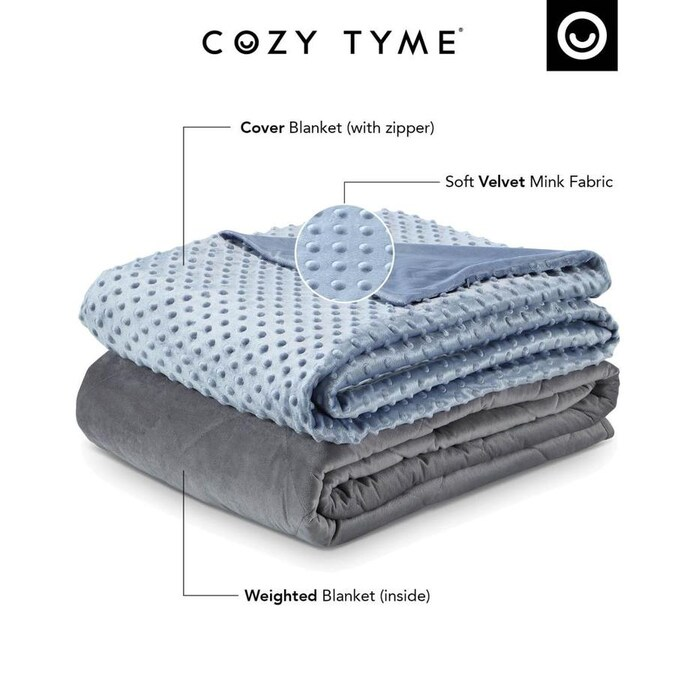 Cozy Tyme Eshe Light Blue 72 In W Cotton Weighted Blanket