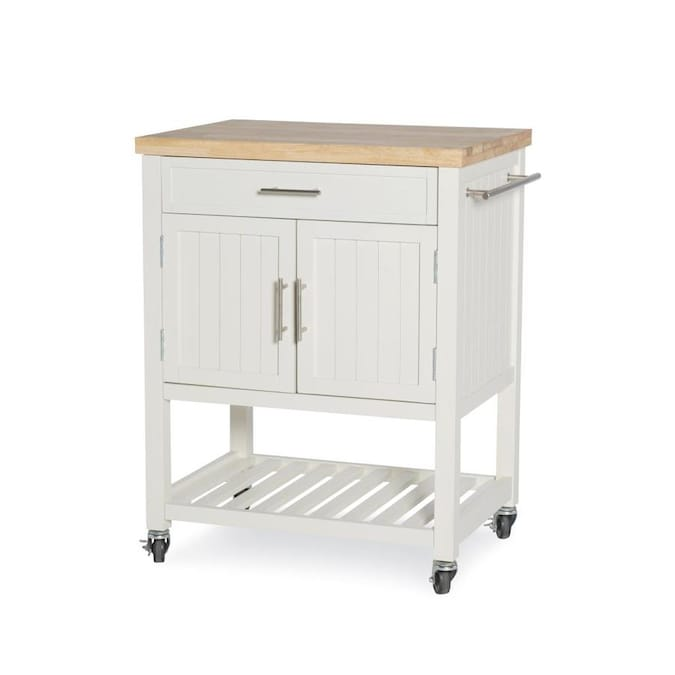 Powell White Wood Base With Wood Butcher Block Top Kitchen Cart 28 In X 20 25 In X 33 5 In In The Kitchen Islands Carts Department At Lowes Com
