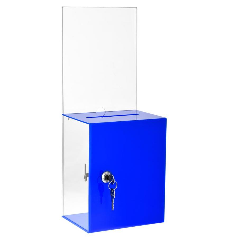Clear Acrylic Charity Coin Collection Box Donation Box with open Front Suggestion Box With Lock and 2 Keys
