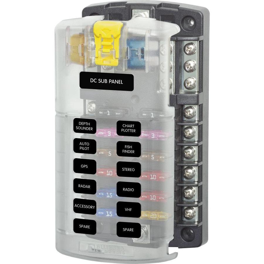 blue sea systems st blade fuse block- 12 circuits with negative bus and  cover in the rv accessories department at lowes.com  lowe's