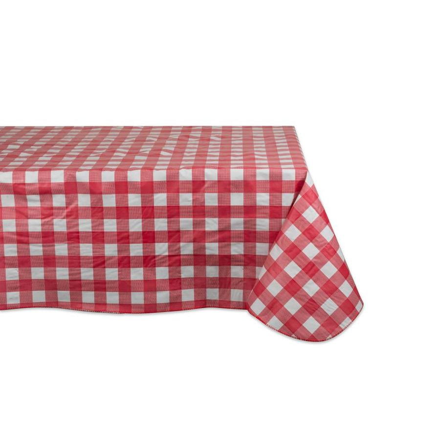 Code C57-1 Red Heart Check PVC Wipe Clean Vinyl Tablecloth ALL SIZES