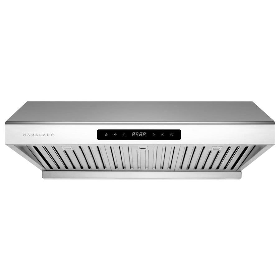 Firegas 30 inch Wall Mount Range Hood with 450 CFM Tempered Glass Ducted Exhaust Vent 3 Speed Fan LCD Digital Clock Display Touch Control Panel,Glass Vent Hood With 2pcs charcoal filters
