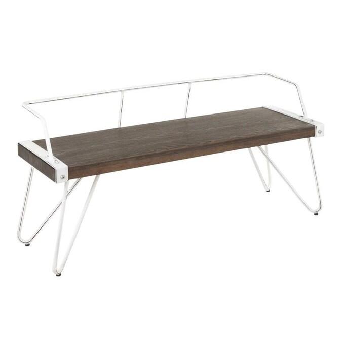 Lumisource Stefani Industrial Bench In Vintage White Metal And Espresso Wood Pressed Grain