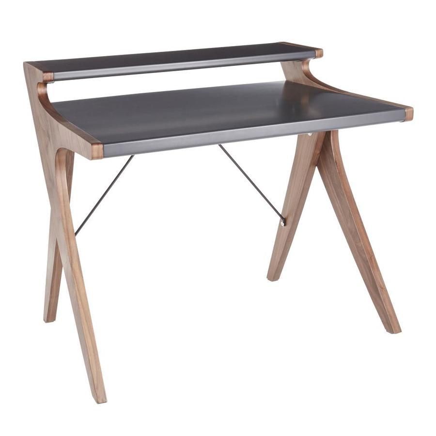LumiSource Archer Modern/Contemporary Grey Wood Computer Desk in