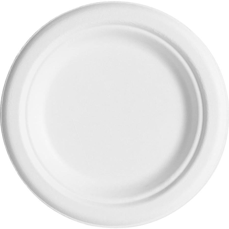Eco-Products Sugarcane Plates- 6in Diameter Plate- Sugarcane Plate-  Microwave Safe- 6/Carton