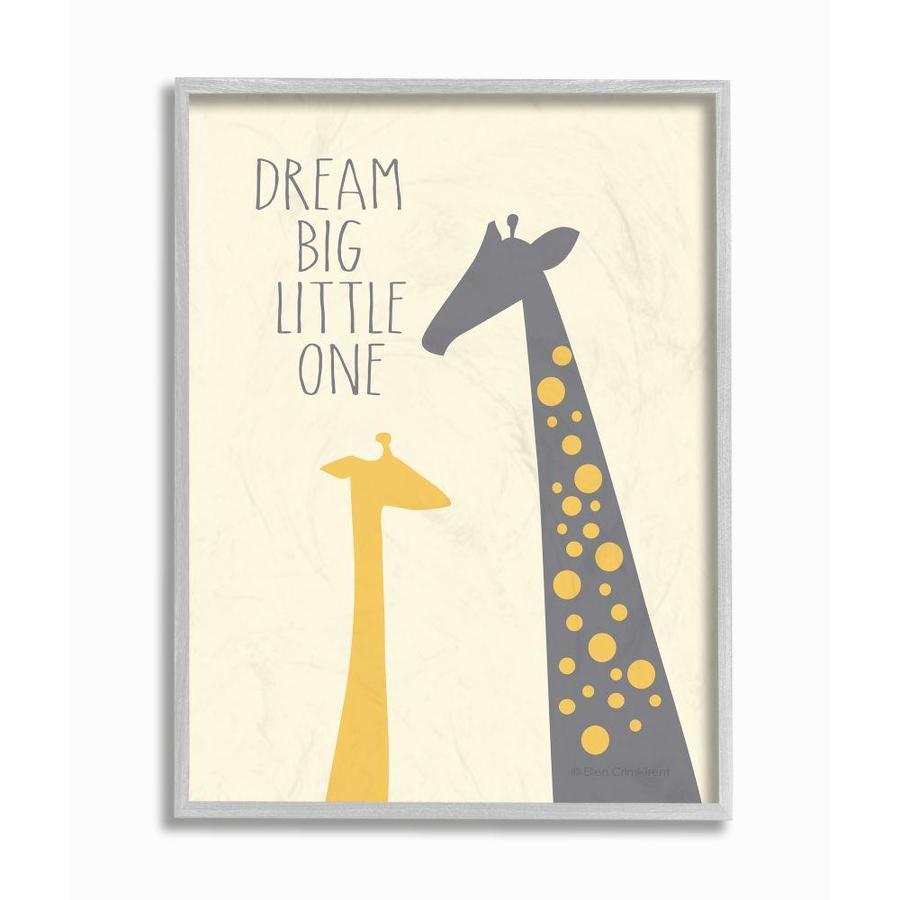 Stupell Industries Dream Big Little One with Giraffes Grey Framed Wall Art 16 x 20 Design by Artist Ellen Crimi-Trent