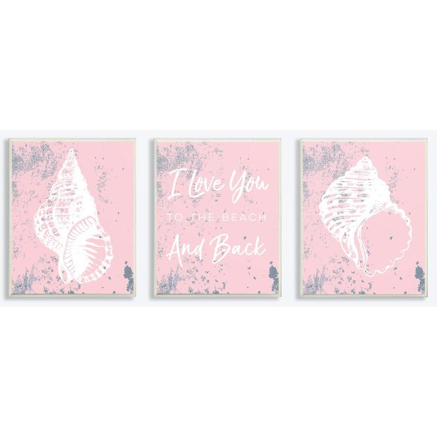 The Stupell Home Decor Collection Love You to the Beach Shells 3pc Wall Plaque Art Set Proudly Made in USA 10 x 0.5 x 15