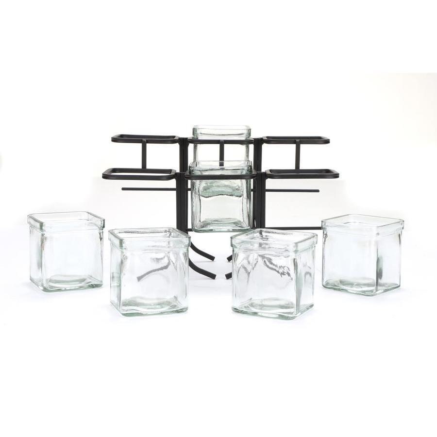 Mind Reader 6JASTEP-BLK 6 Compartment Condiment Server Stand Black Bars Garnish Station for Restaurant Clear 2 Tier 9.5 W x 7.25 H Removable Jars
