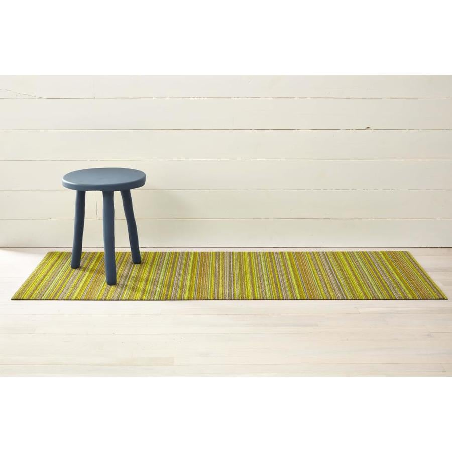 Chilewich Shag Mats 2 X 6 Citron Indoor Outdoor Stripe Runner In The Rugs Department At Lowes Com