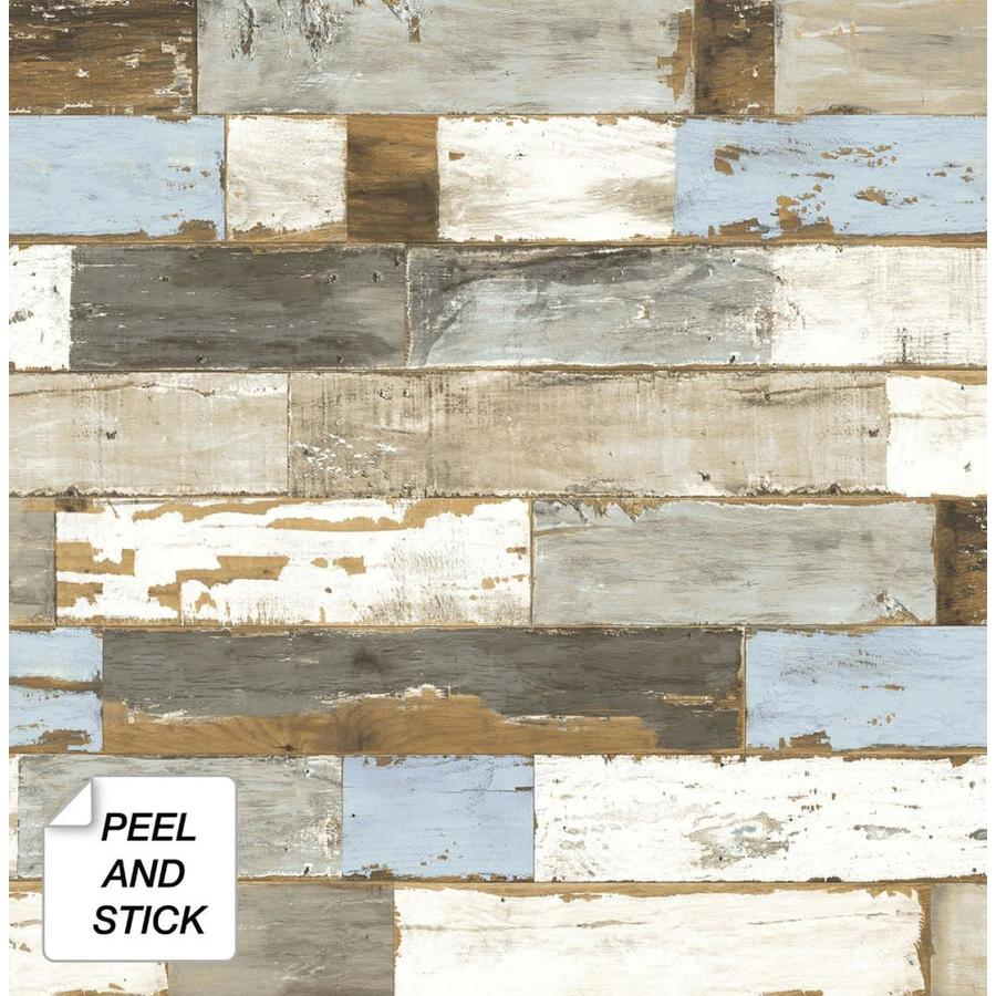 Nextwall 30 75 Sq Ft Blue And Brown Vinyl Wood Self Adhesive Peel And Stick Wallpaper In The Wallpaper Department At Lowes Com