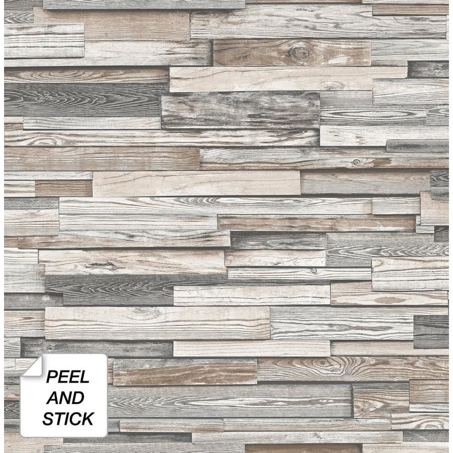 Nextwall 30 75 Sq Ft Light Gray And Brown Vinyl Wood Self Adhesive Peel And Stick Wallpaper In The Wallpaper Department At Lowes Com