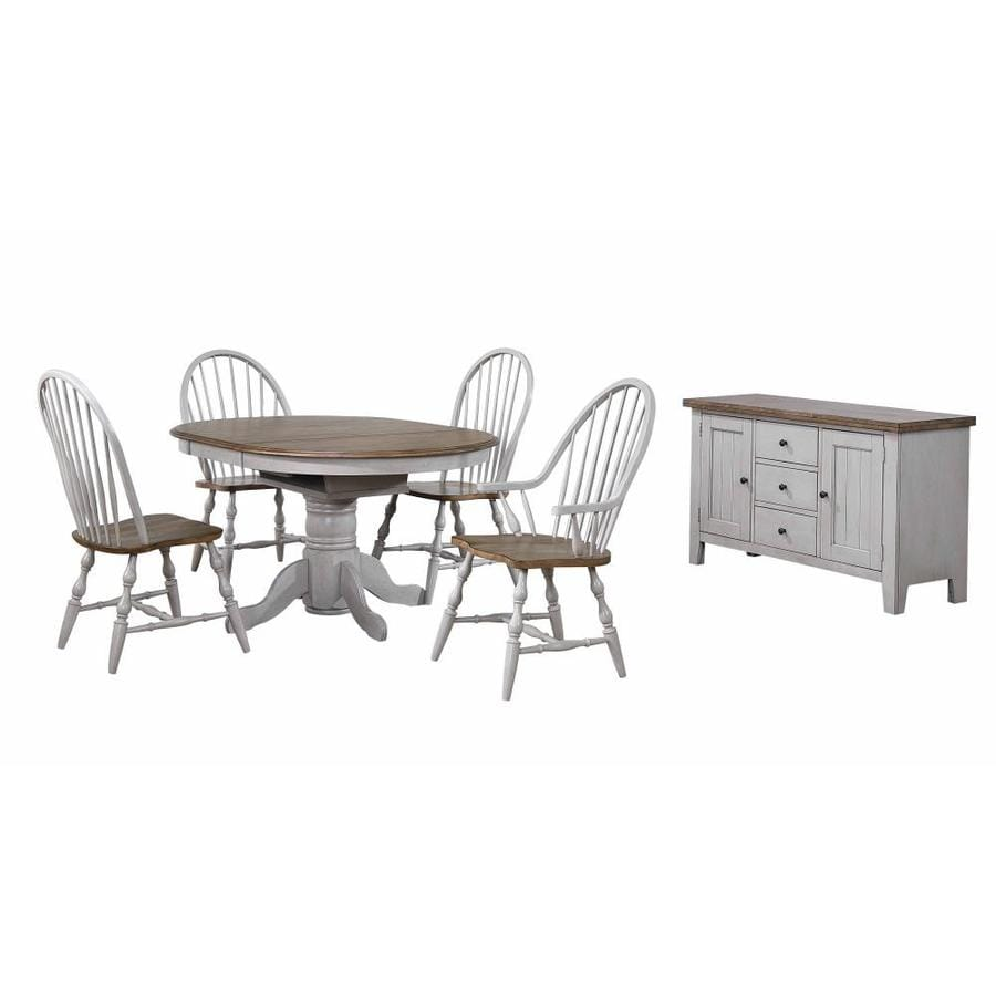 Sunset Trading Country Grove Distressed Light Gray And Medium Walnut Dining Room Set With Oval Table In The Dining Room Sets Department At Lowes Com