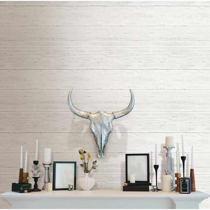 NuWallpaper 30.75-sq ft White Vinyl Wood Self-Adhesive ...