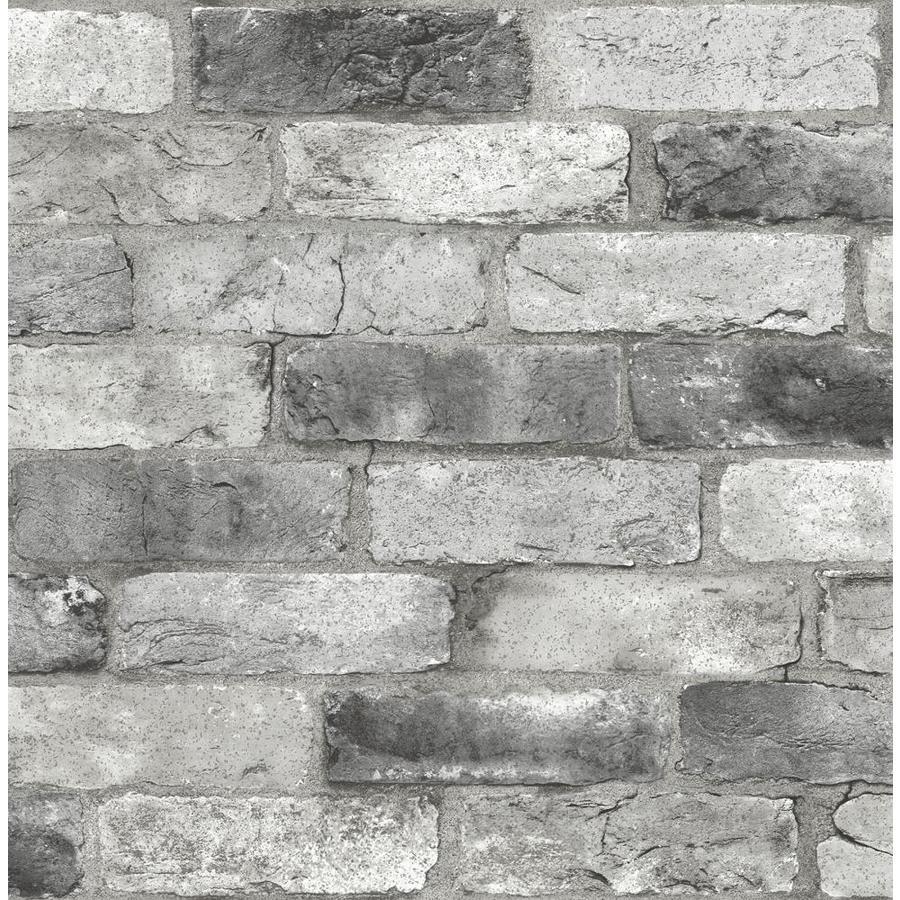 Nuwallpaper 30 75 Sq Ft Grey Vinyl Brick Self Adhesive Peel And Stick Wallpaper In The Wallpaper Department At Lowes Com