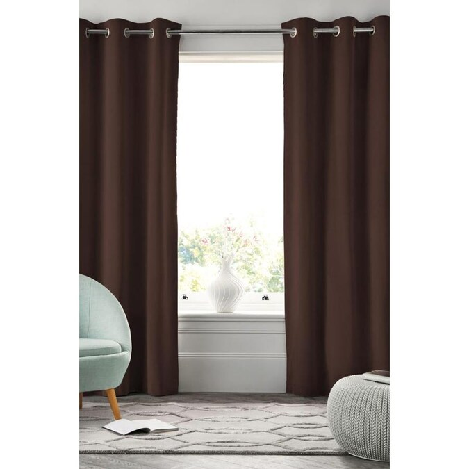 Popular Home 63-in Chocolate Polyester Blackout Grommet ...