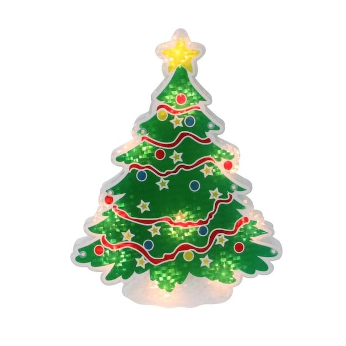 Northlight 12.5-in Lighted Holographic Christmas Tree Window Silhouette Decor in the Novelty ...