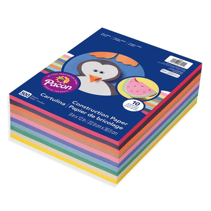 9 x 12 10 Assorted Colors 500 Sheets 2 Pack Art Street Lightweight Construction Paper