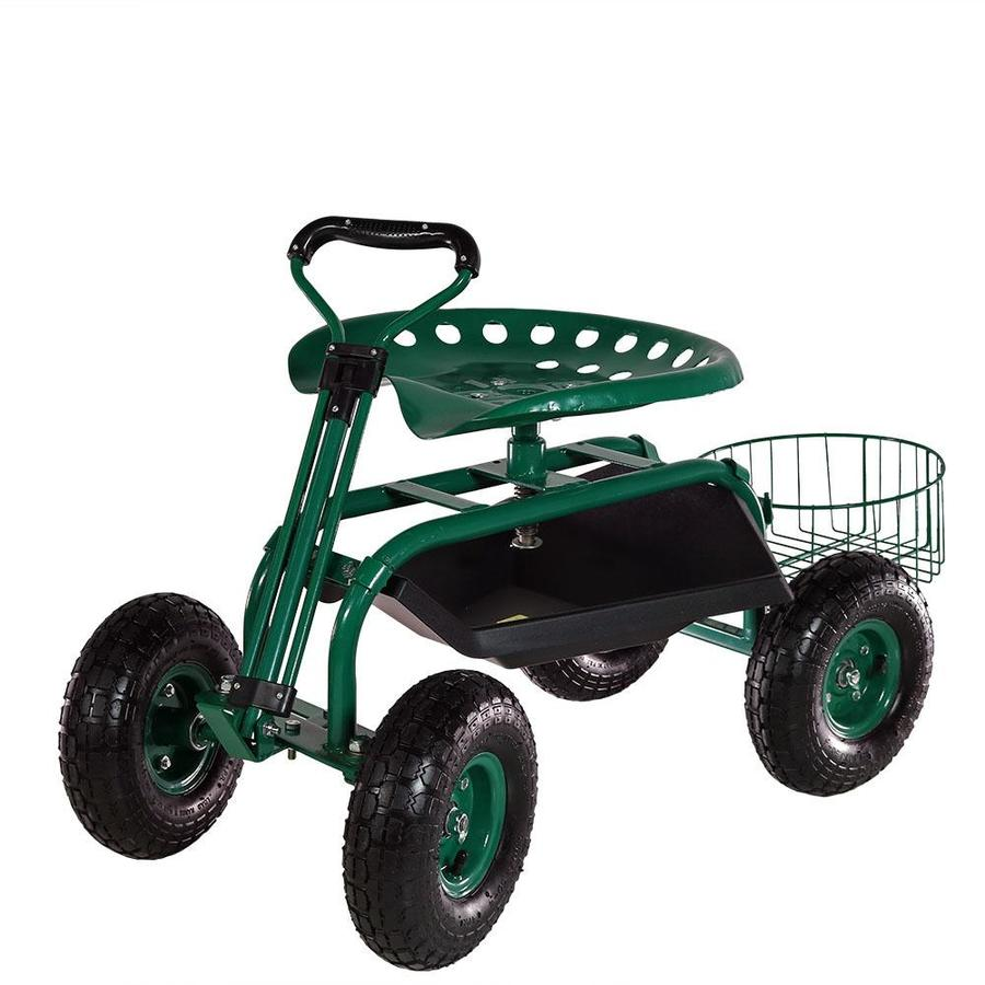 Sunnydaze Decor Garden Cart Rolling Scooter With Extendable Steer Handle Swivel Seat And Utility Tool Tray Green In The Yard Carts Department At Lowes Com