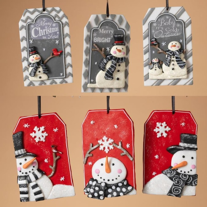 Gerson International Clay Dough, Name Tag-Shaped Snowman Ornaments (Set of 6) in the Christmas ...