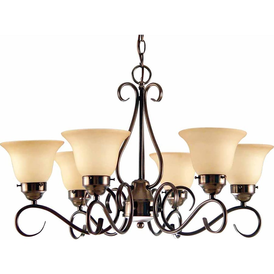 Amalia 28-in 6-Light Antique Bronze Tinted Glass Candle Chandelier