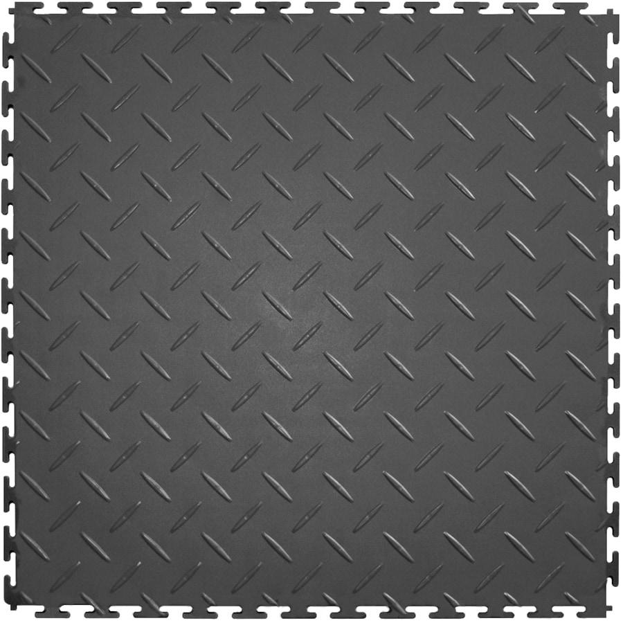 Perfection Floor Tile 8-Piece 20.5-in x 20.5-in Dark Gray Diamond Plate Garage Floor Tile