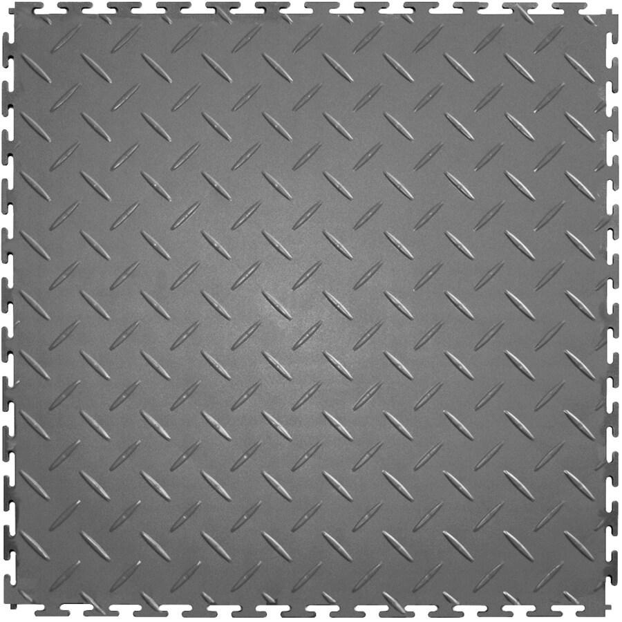 Perfection Floor Tile 8-Piece 20.5-in x 20.5-in Light Gray Diamond Plate Garage Floor Tile