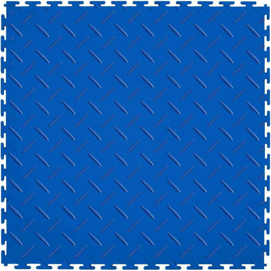 Perfection Floor Tile 8-Piece 20.5-in x 20.5-in Dark Blue Diamond Plate Garage Floor Tile