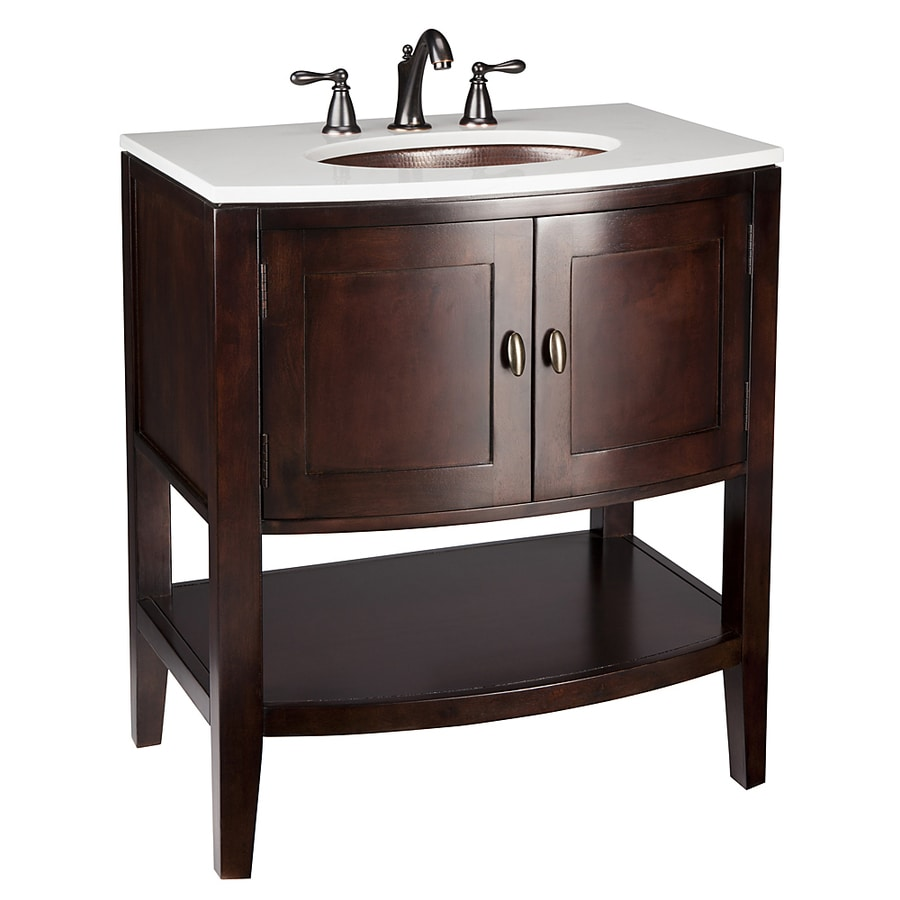 allen + roth Renovations Merlot Undermount Single Sink Poplar Bathroom Vanity with Cultured Marble Top (Actual: 30-in x 22-in)