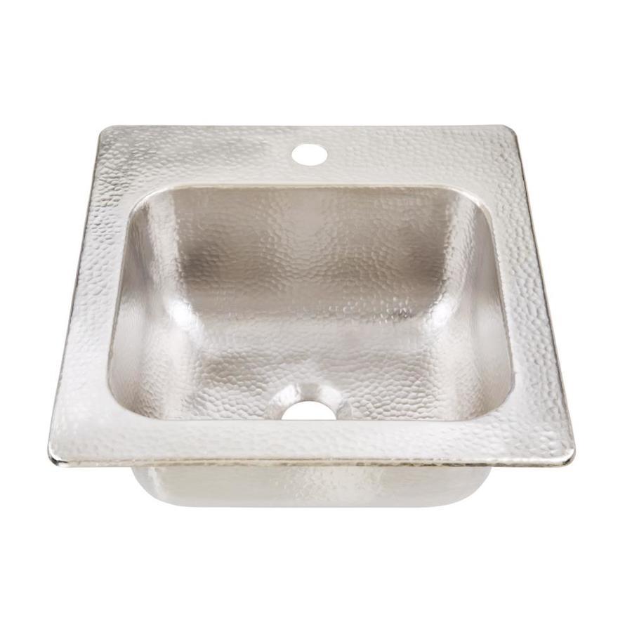 SINKOLOGY Nickel Single-Basin 1-Hole Nickel Drop-In Commercial Bar Sink