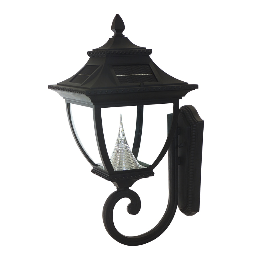sonic pagoda 24 in h led black solar outdoor wall light at. Black Bedroom Furniture Sets. Home Design Ideas