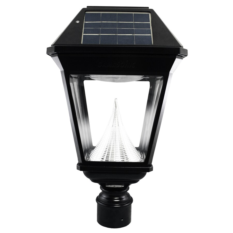shop gama sonic imperial 2 19 in h black solar led post light at lowes