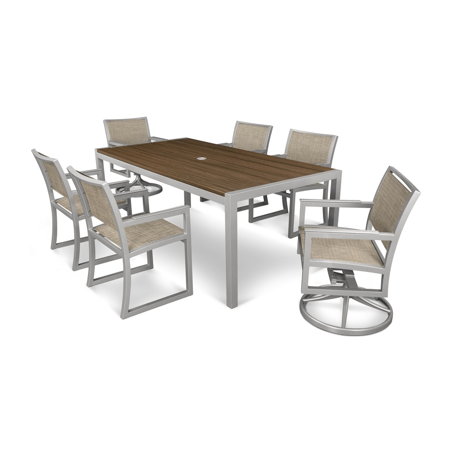 Trex Outdoor Furniture Harvest 39 x 78 Dining Table in Satin White//Spiced Rum
