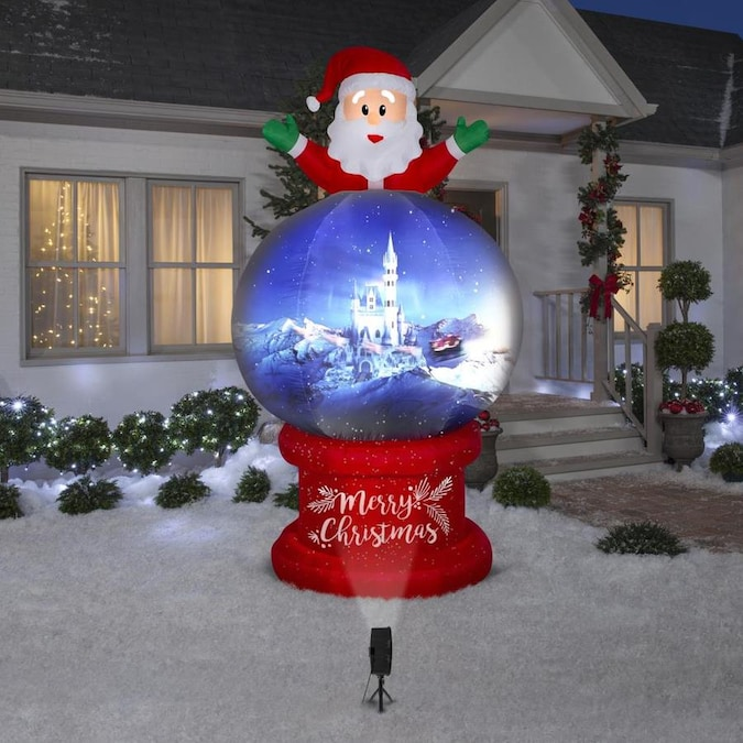Gemmy 9 foot Living Projection Airblown Santa On Globe in the Christmas Inflatables department ...