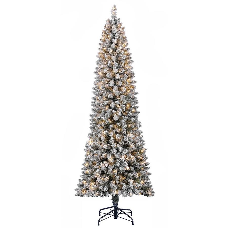 Holiday Living 7 ft Pre Lit Slim Flocked Artificial Christmas Tree with 300 Constant White Clear Incandescent Lights