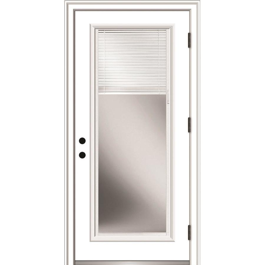 Mmi Door 36 In X 80 In Fiberglass Full Lite Left Hand Outswing Primed Prehung Single Front Door Brickmould Included With Blinds In The Front Doors Department At Lowes Com I really don't want to pay double just because i'm installing. lowe s