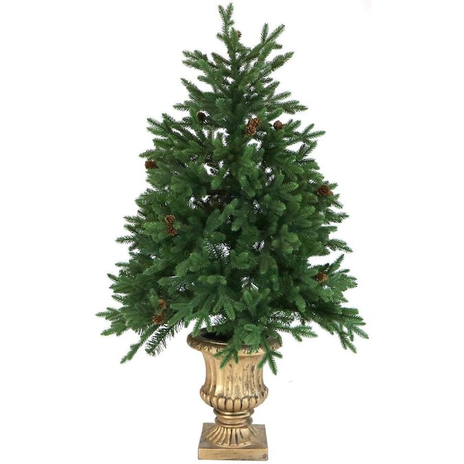 Fraser Hill Farm 4-ft Pre-Lit Noble Fir Artificial Christmas Tree with 200 Multi-Function White ...