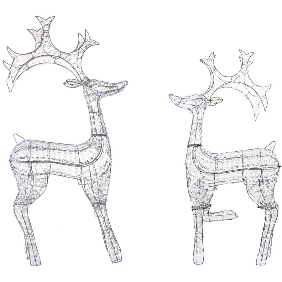 Fraser Hill Farm Indoor Covered Outdoor Christmas Decorations 2 Piece Pre Lit Crystal Reindeer Set with 240 LED Lights and 8 Lighting Effects