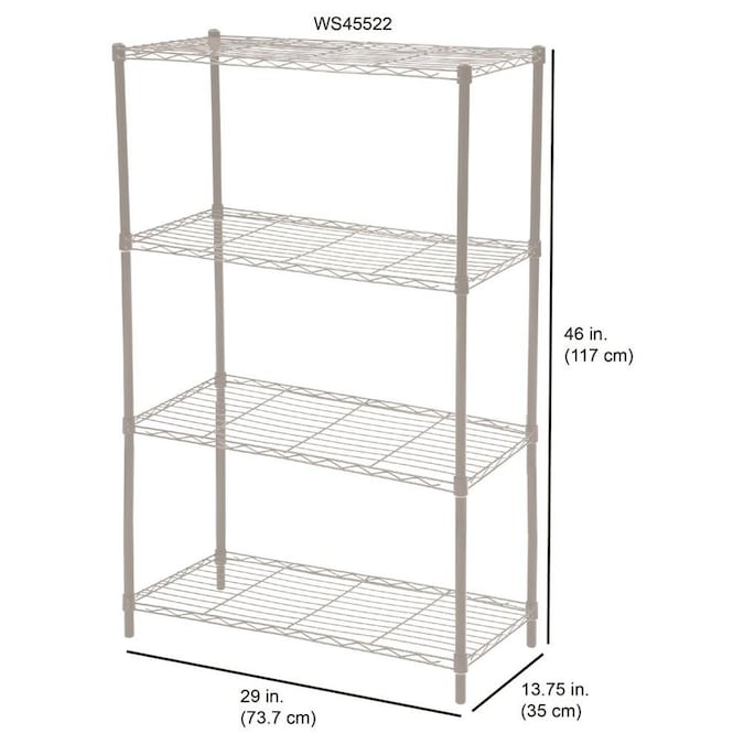 Home Basics 13.75-in D x 29-in W x 46-in H 2-Tier Wire